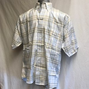 Burberry Short Sleeve Button Front Plaid Shirt-M